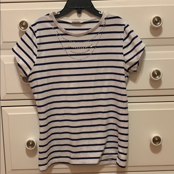 Poof! Other - Girls striped cap sleeve tshirt with embellishment